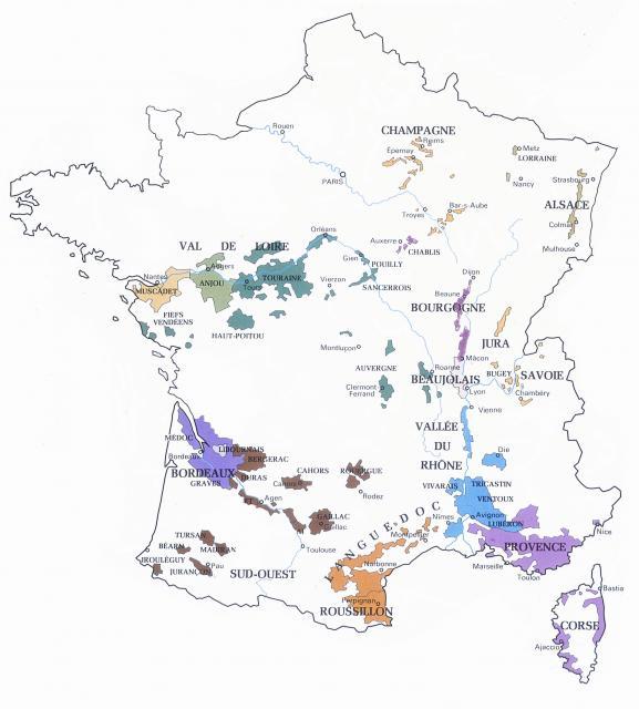 Ranskan viinialueet.